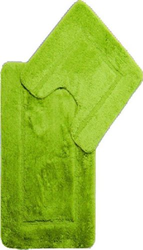 DESIGNER LUXURY SOFT MICROFIBRE BATH MAT & PEDESTAL LIME GREEN COLOUR